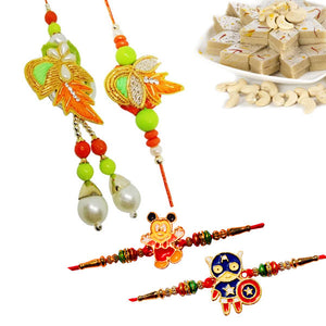 4 Rakhi - Couple Rakhi and 2 Kids Rakhi With 400Gms Kaju Katli