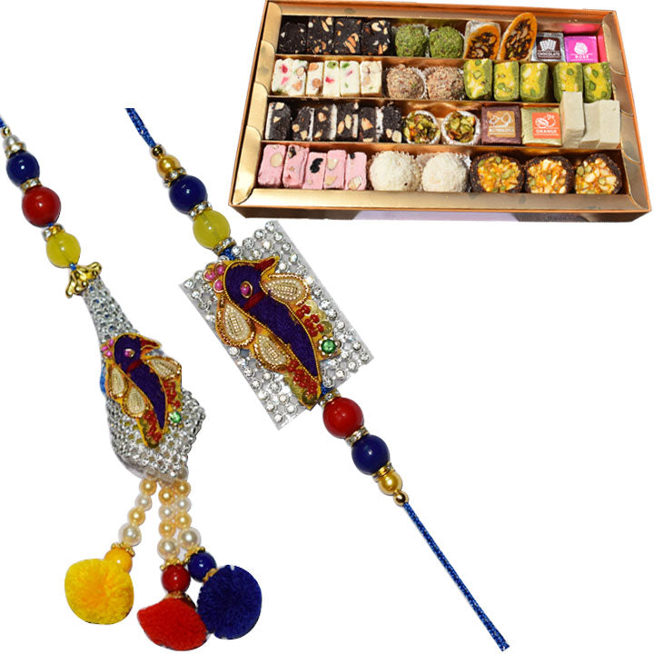 2 Rakhi - Diamond Peacock And Pearl Bhaiya Bhabhi Rakhi With Kaju Mix Sweet