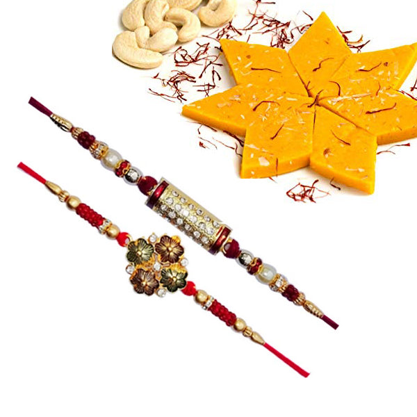 2 Rakhi - Diamond Rakhi And Beads Rakhi With Fresh Kesar Kaju Katli