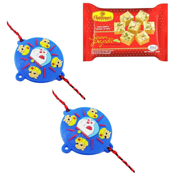 2 Rakhi - Doraemon and Chota Bheem Rakhi With Soan Papdi 200Gms