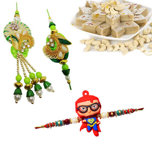3 Rakhi - Fancy Couple Rakhi, and 1 Kids Rakhi With 400Gms Kaju Katli