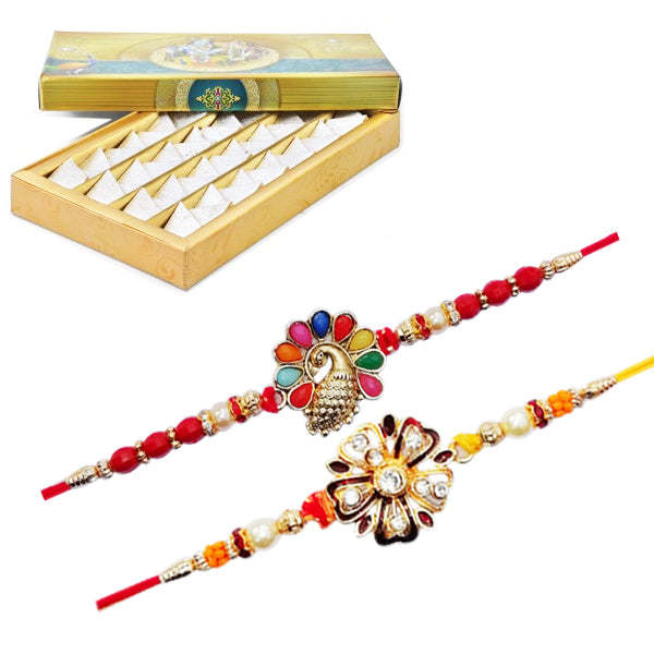 2 Rakhi - Flower Rakhi Set With Fresh Kaju Katli
