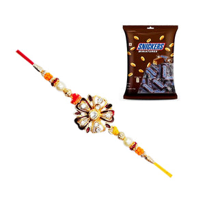 Flower Rakhi With Snickers Miniatures Pack 150gms