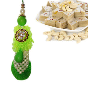 1 Rakhi - Green Stone and White Pearl Lumba Rakhi With Kaju Katli