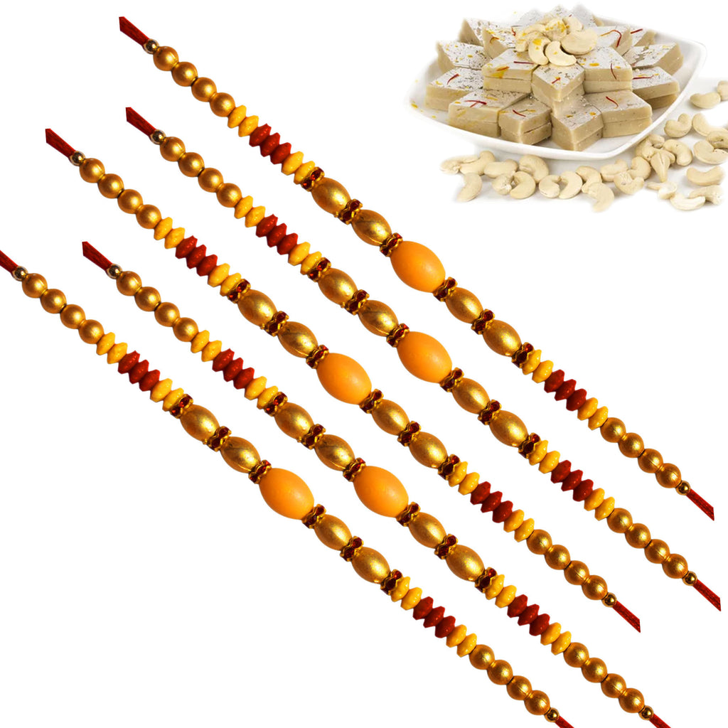 5 Rakhi - Pearl Rakhi Set With Kaju Katri