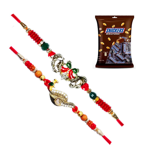 Set of 2 Beautiful Rakhi With Snickers Miniatures Pack 150gms