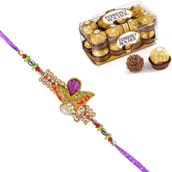 1 Rakhi - Pearls And Beads Rakhi With 16 Pcs Ferrero Rocher Chocolate Box