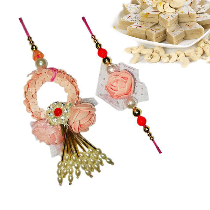 2 Rakhi - Pink Beads Couple Rakhi With Kaju Katli