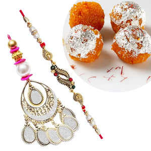 2 Rakhi - Premium Rakhi Set With Motichur Laddu