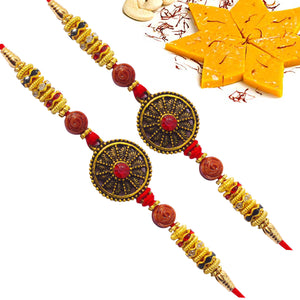 Round Pendant Set Of 2 Rakhi with Fresh Kesar Kaju Katli