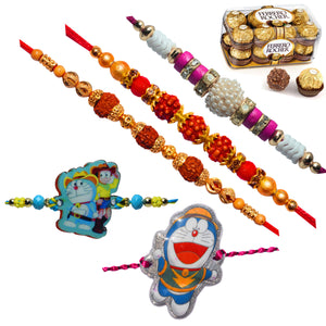 5 Rakhi - Rudraksh Pearls and Doraemon Rakhi With Ferrero Rocher Chocolate Box