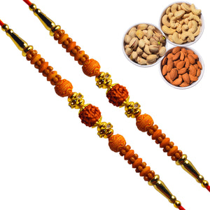 2 Rakhi - Rudraksh Rakhi Set with Dryfruit Combo Box