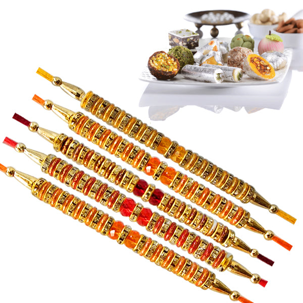 5 Rakhi -  Pearl Rakhi With Fresh Kaju Mix Mithai