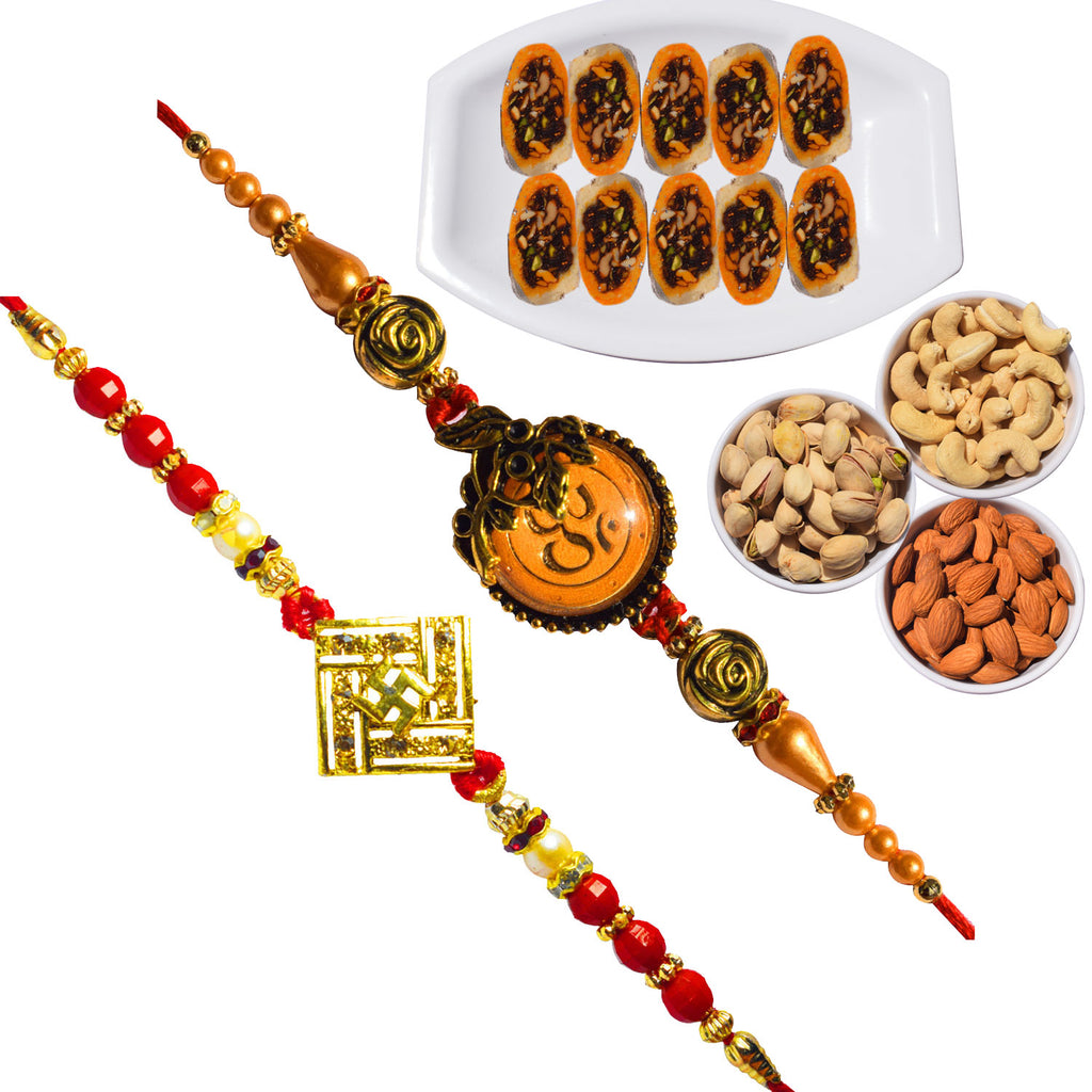 2 Rakhi -  Swastik and OM Rakhi With Kesar Slice Sweet and Dryfruit Combo Box