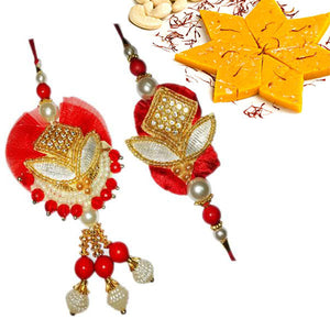 2 Rakhi - White Pearl and Golden Work Couple Rakhi With Kesar Kaju Katli