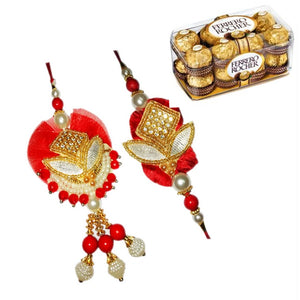 Golden Work Rakhi Set With 16 Pcs Ferrero Rocher Box