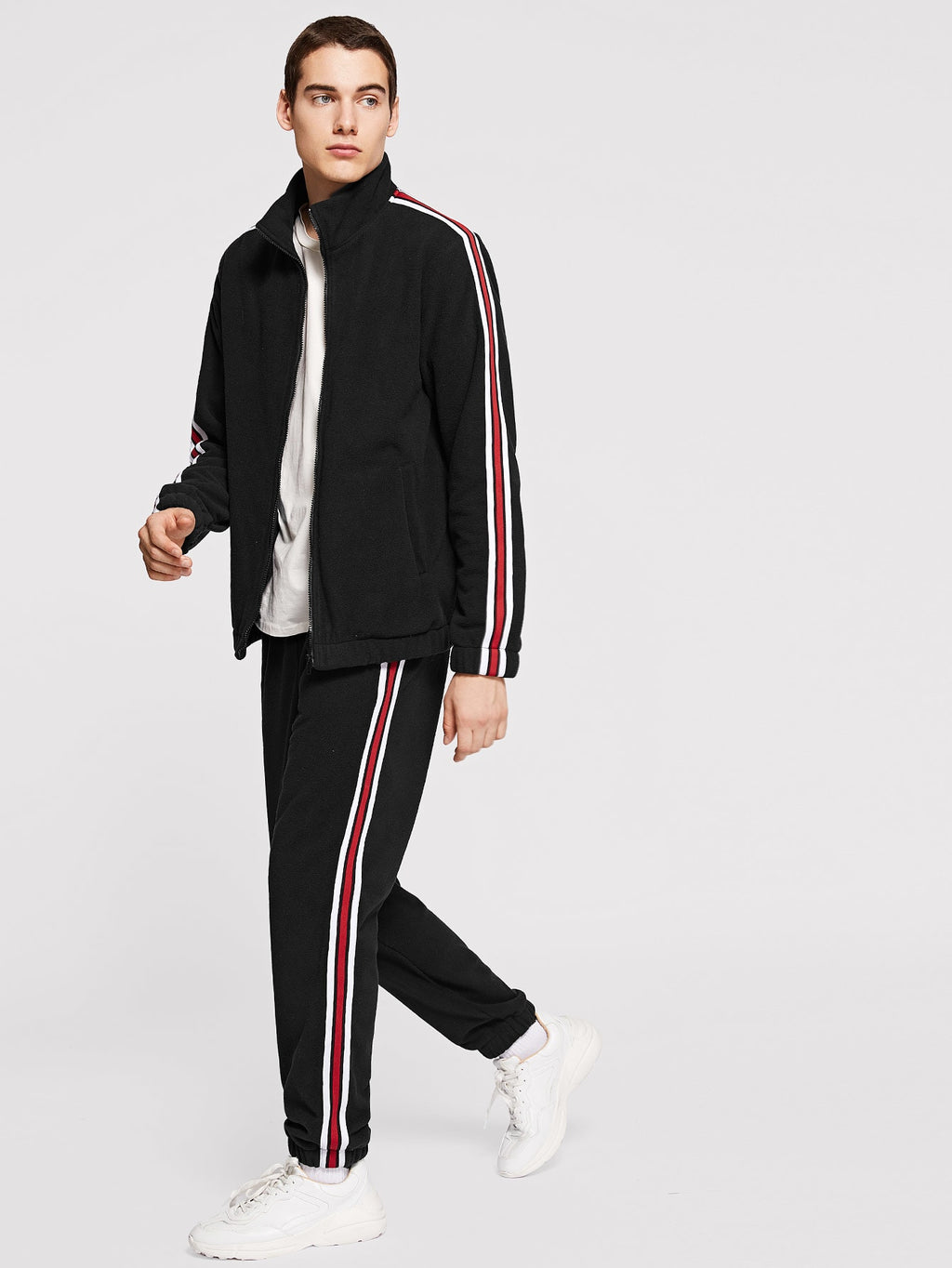 Men's Tracksuit - Zip Up Mock-Neck Striped Jacket & Pants Set