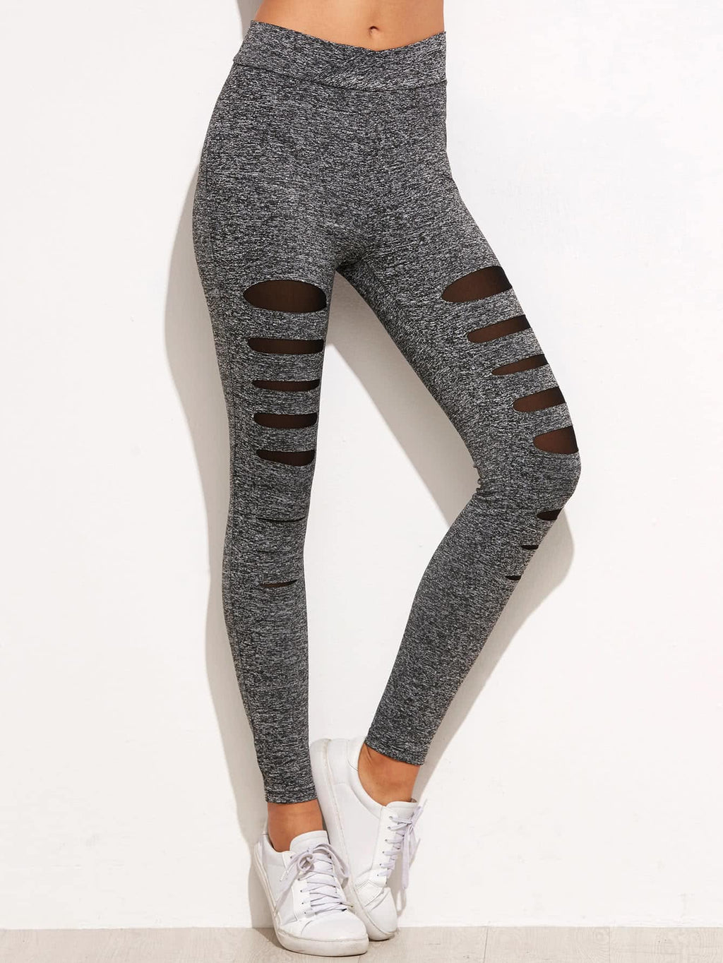 Tights For Women - Marled Knit Mesh Insert Ripped Leggings