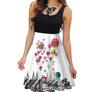Boho O-Neck 3D Butterfly Print Dress