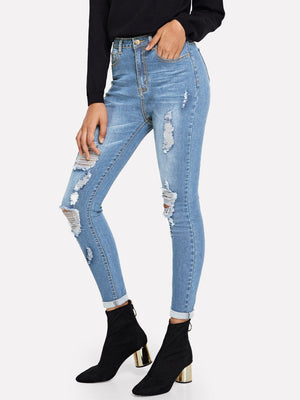 Jeans For Women - Bleach Dye Destroyed Jeans