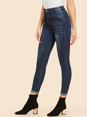 Jeans For Women - Faded Skinny Ankle Jeans