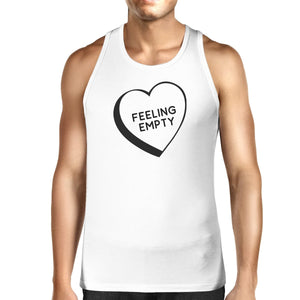 Men's Tank Tops - Feeling Empty Heart White Cotton Tanks For Men Humorous Design Top