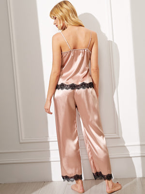 Satin Pajamas - Eyelash Lace Satin Cami Pajama Set