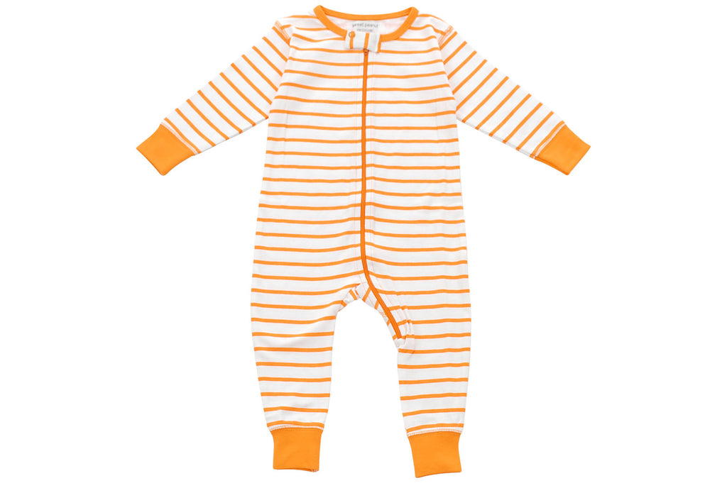 Toddler Boy Jumpsuits - long romper in orange marseille stripe