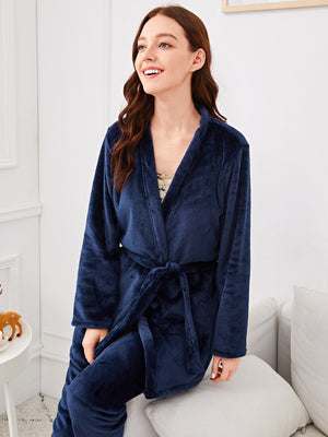 Cotton Pajamas - Contrast Lace Pajama Set With Robe