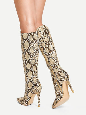 Riding Boots - Snakeskin Print Knee Length Boots