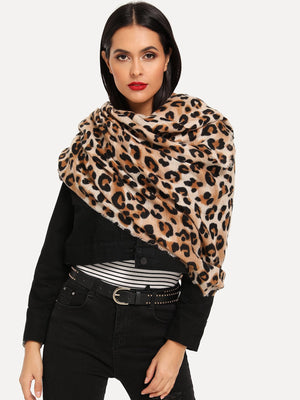 Stylish Scarves - Frayed Trim Leopard Scarf
