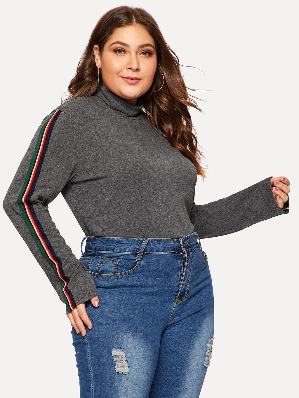 Plus Size Tops - Contrast Tape Side Heathered Knit Tee
