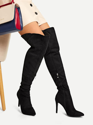 Women Boots - Point Toe Thigh High Suede Boots