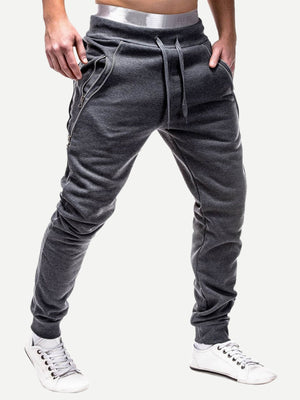 Sports Tights For Men - Contrast Zipper Drawstring Waist Joggers