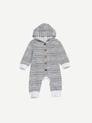 Toddler Boy Jumpsuits - Button Through Hooded Striped Jumpsuit