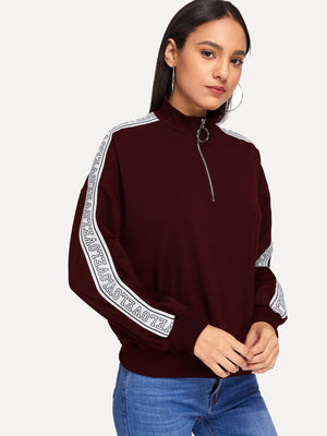 Women's Activewear - Letter Tape Detail Half Placket Sweatshirt