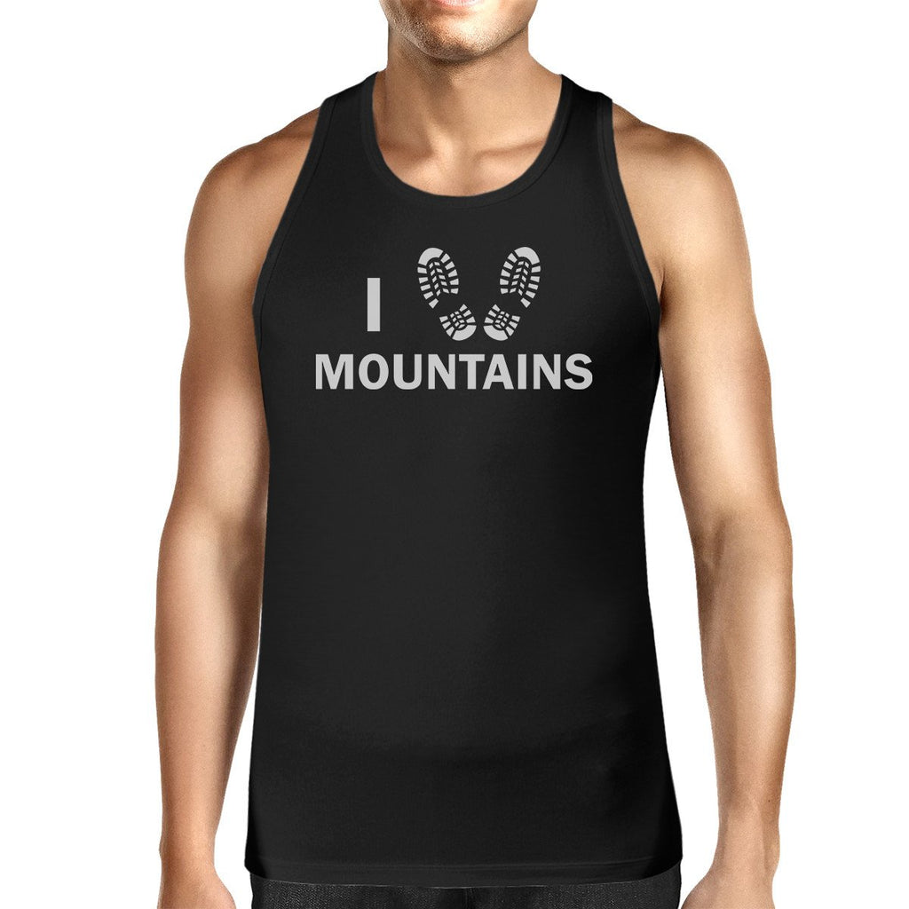 Workout Tank Tops - I Heart Mountains Men's Black Cotton Tanks For Mountain Lovers