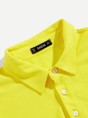 Men's Tops - Neon Yellow Men Button Front Solid Polo Shirt