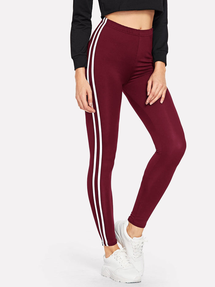 Cheap Leggings - Striped Tape Side Elastic Waist