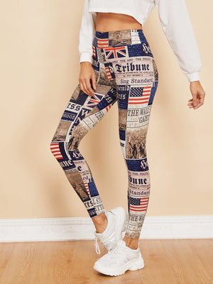 Printed Leggings - Newspaper Print Leggings