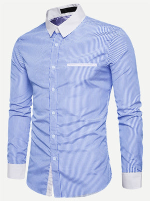 Men's Formal Shirts - Curved Hem Striped Shirt