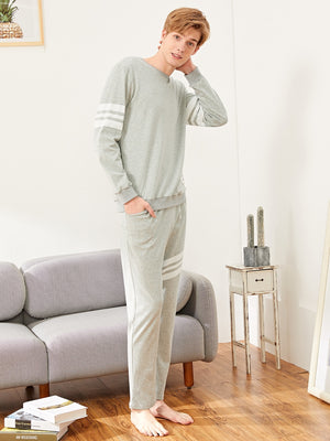 Men's Pajamas - Letter Patched Contrast Stripe Pajama Set