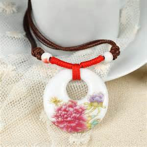 Necklace Pendants - Ceramic Pendant with adjustable rope