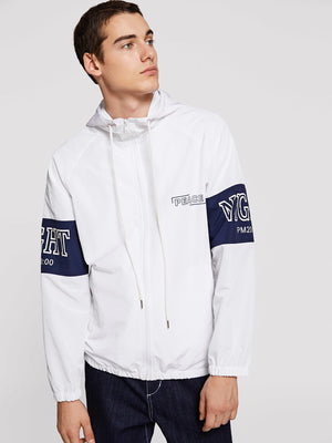 Workout Jackets - Men Zip Up Hooded Lettering Jacket
