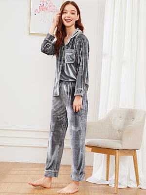 Pajamas For Women - Ribbed Letter Embroidered Velvet Pajama Set