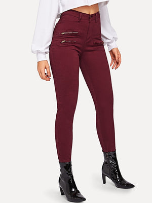 Pants For Women - Zip Pocket Detail Cigarette Pants