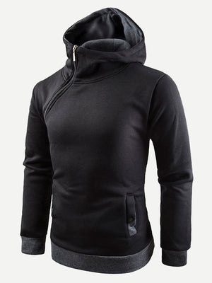 Pullover Hoodies - Men Oblique Zipper Hooded Sweatshirt