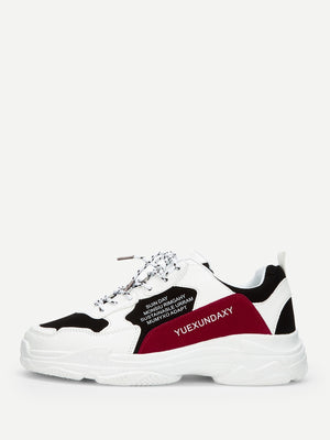 Men's Sneakers - Slogan Print Chunky Sole Sneakers