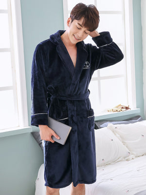 Men's Bathrobe - Letter Embroidered Self Belted Robe