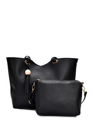 Work Bags - Tassel Detail PU Combination Bag 2pcs